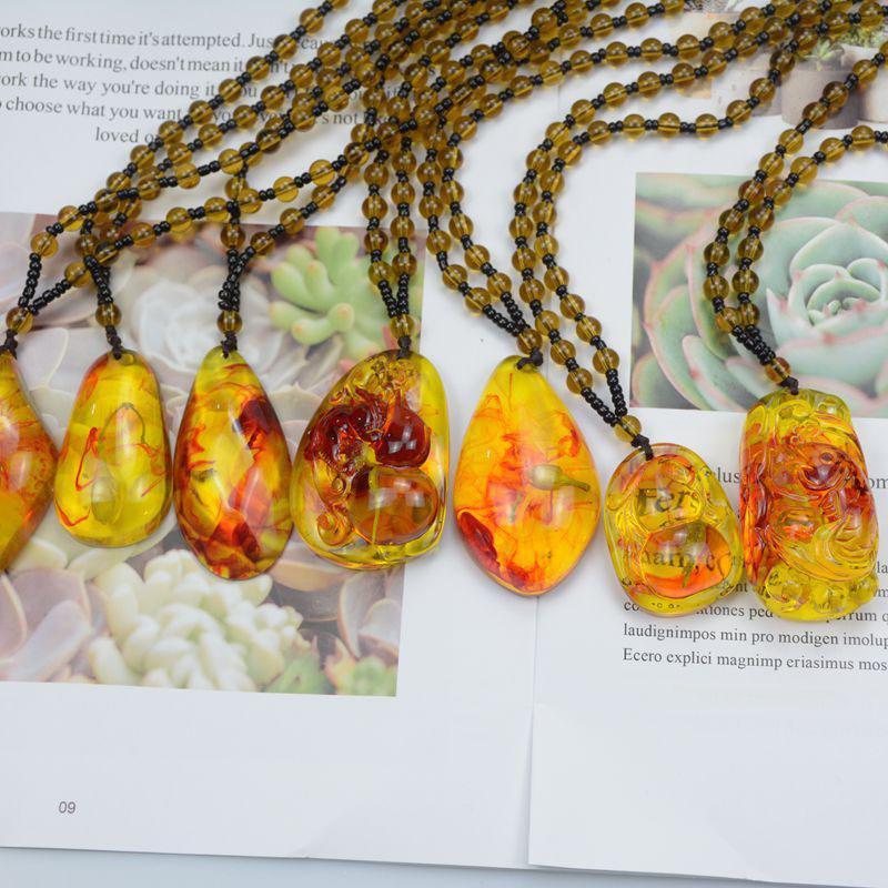 Presentes da jóia flor planta natural brasileiro Insect Ouro Scorpion pendente de colar âmbar para as Mulheres Homens