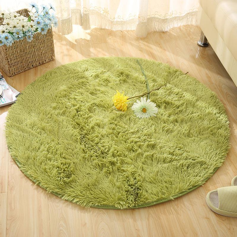 Moelleux tapis rond de tapis pour salon Kilim tapis de fausse fourrure chambre d'enfants tapis de peluche longs pour la chambre à coucher tapis Shaggy blanc D19011201
