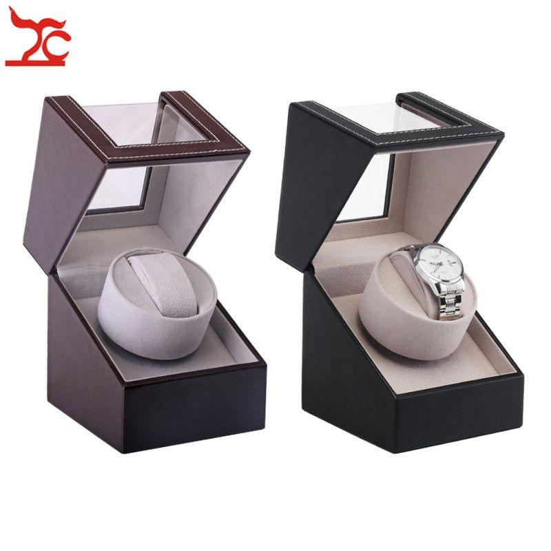 De lujo solo motor Shaker Watch Winder sostenedor del organizador de EU / US / AU / UK Plug Calidad reloj mecánico automático de almacenamiento caja de regalo