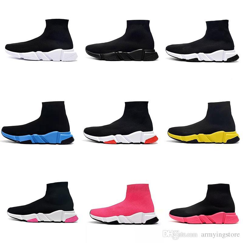 Balenciaga Sock shoes Luxury Brand مصمم أزياء فاخرة للنساء أحذية الرجال سوك سرعة مدرب حذاء رياضة الحياكة الانزلاق على جودة عالية الأحذية الرياضية عارضة الراحة Chaussures