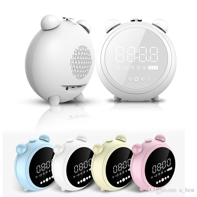 새로운 미니 휴대용 LED의 USB 블루투스 무선 TF AUX FM 다기능 스피커 고음질 3D 데스크탑 미러 음악 스테레오 사운드 박스 알람 시계