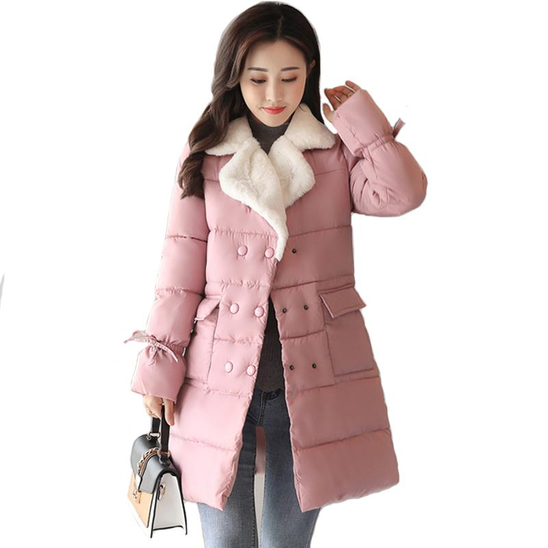 2018 jacket women winter lamb warm turn-down collar fashion winter coat women autumn breast-button outerwear for women parka
