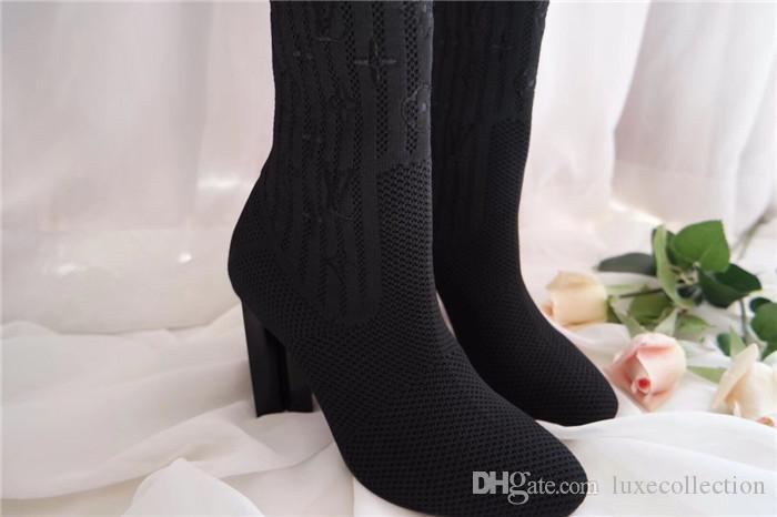 Sonbahar / kış sıcak tarzı çorap ve çizme, Süper ince popüler rüzgar işlemeli kadın kutusu ile yüksek topuk çorap çizme göstermek