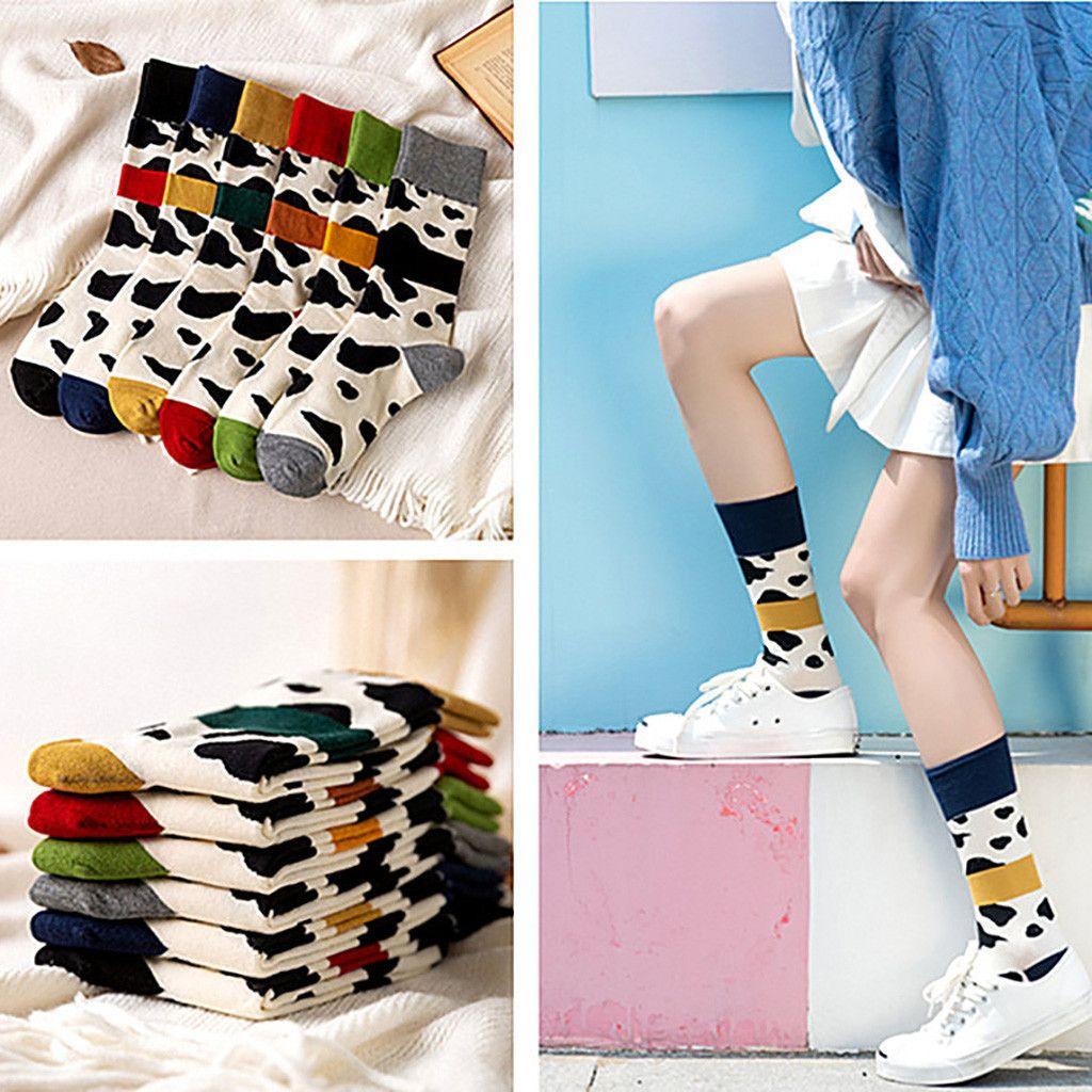 Christmas Korean Women's Fashion Trend Cow Printing Socks Bright Color Socks In The Tube Casual Cotton winter Socks Stockings