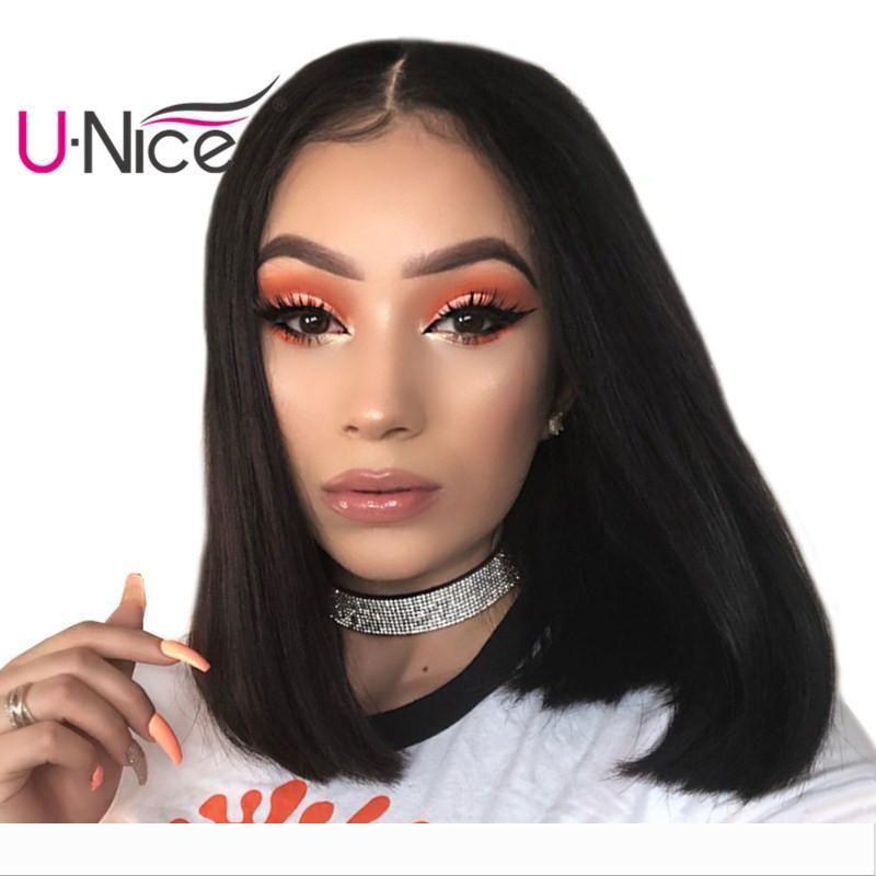 UNICE capelli brasiliani diritta merletto dei capelli umani anteriore parrucche economiche peruviano parrucca Bob parrucca 100% capelli umani per donne di colore all'ingrosso all'ingrosso