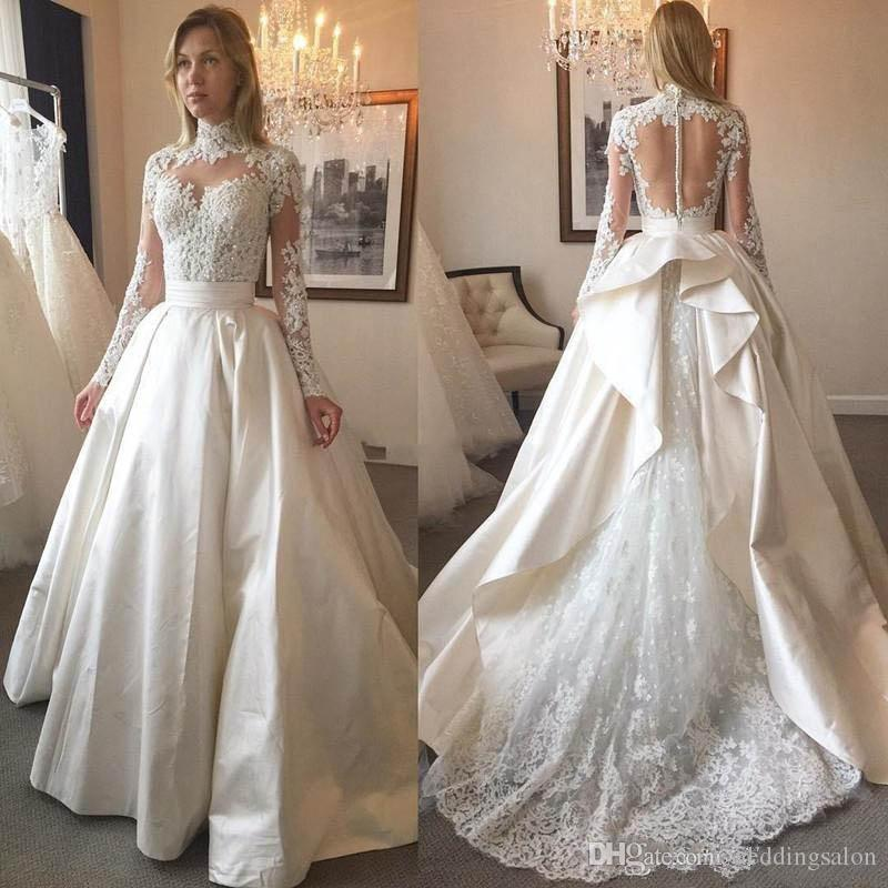 Modest High Neck Long Sleeve Ball Gown Wedding Dresses Lace Appliques Sequin Ruffles Bridal Dress Satin See Through Back Wedding Gowns
