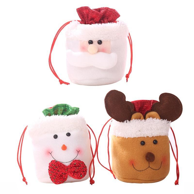 Noël pour enfants Sac cadeau Cartoon Père Noël bonhomme de neige Elk 3 Styles bonbons Pochette Sacs à cordonnet corde Fit Suspendre Sapin de Noël Décor 4 2HC E1