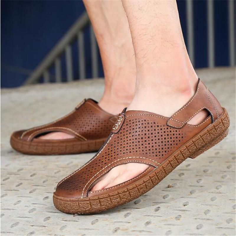 Большой размер 38-46 натуральная кожа мужские сандалии новая летняя Мужская обувь пляжные сандалии для мужчин мода открытый повседневные кроссовки