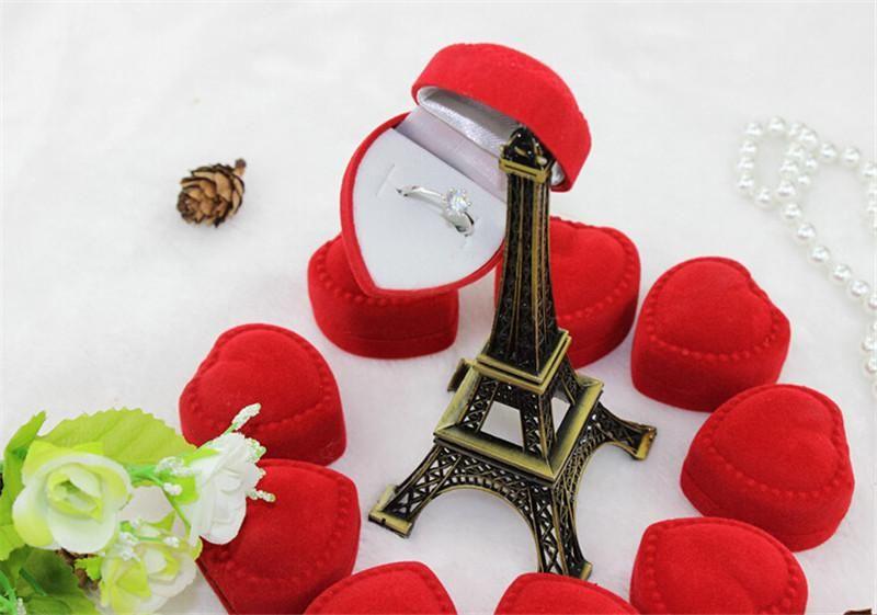 Kadife Akın Hediye Kutuları Açık Kırmızı Kalp Şekli Halka Küpe Kutuları Takı Malzemeleri Romantik Zarif Basitlik Dayanıklı Kapak