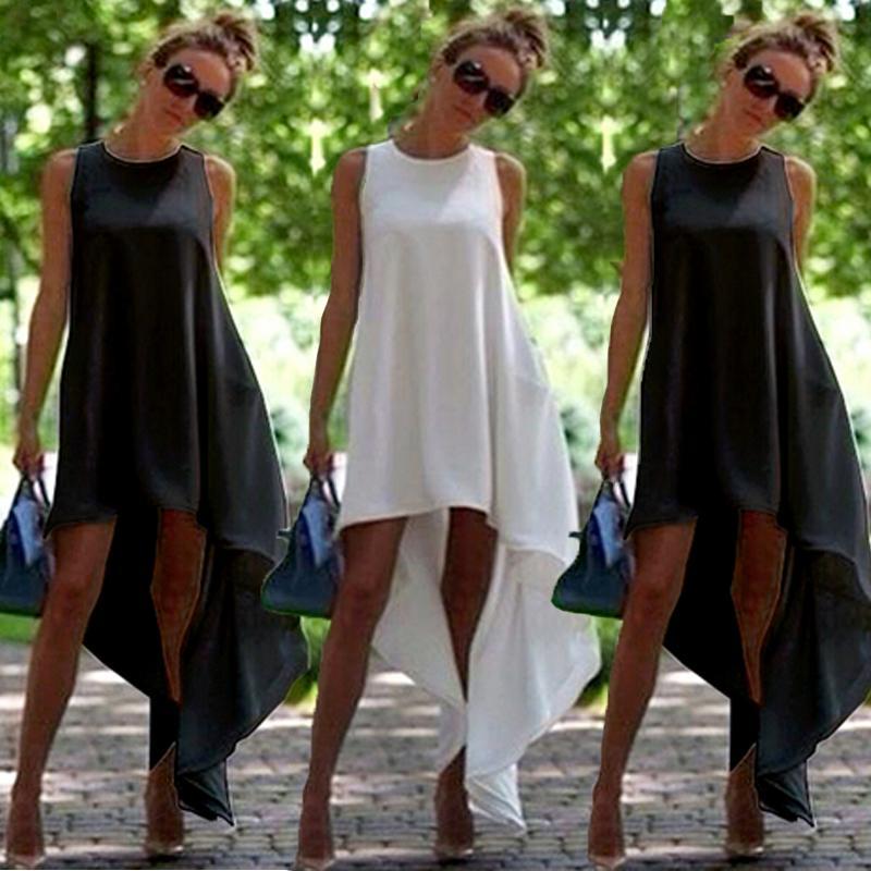 Женщины Лето Boho Длинное платье макси Вечерняя вечеринка Пляжные платья Костюм сарафана Черное белое длинное платье