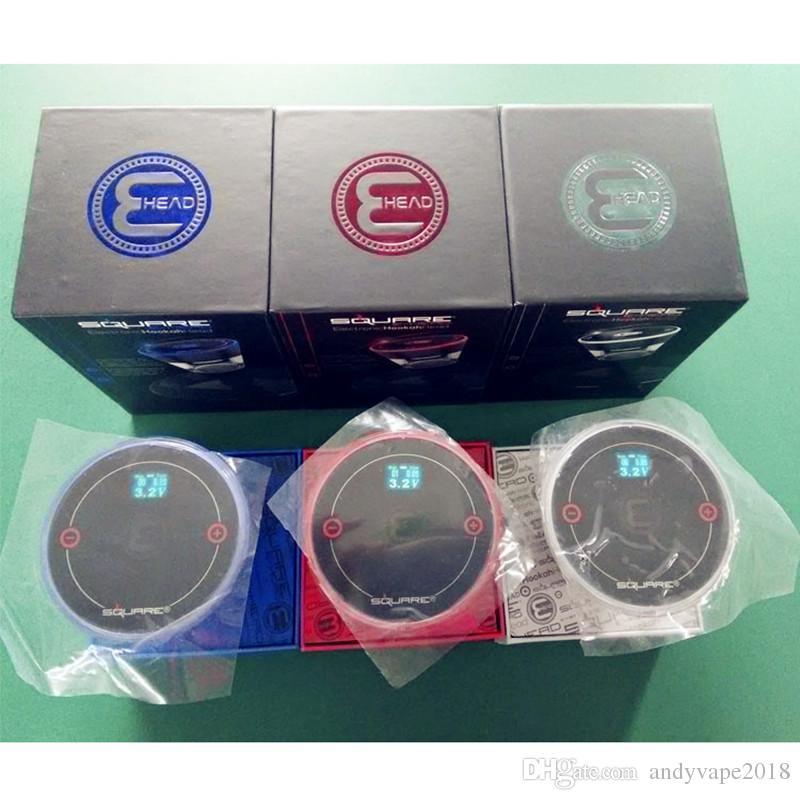 New Square E Head Ehead 2400mAh Cartridge Refillable Disposable Hookah Rechargeable E-Head Vaporizer E Cigarette Kit DHL Free Shipping