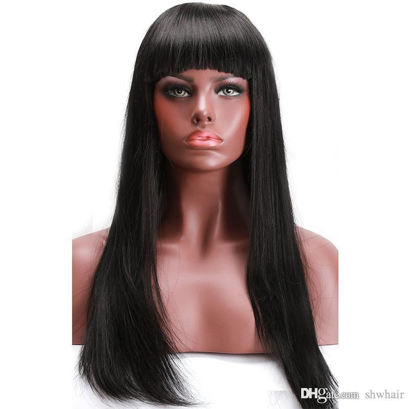 Synthetic Lace Wigs With Bangs Silky Straight Pre Plucked High Temperature Heat Resistant Glueless Lace Front Synthetic Wig With Bang