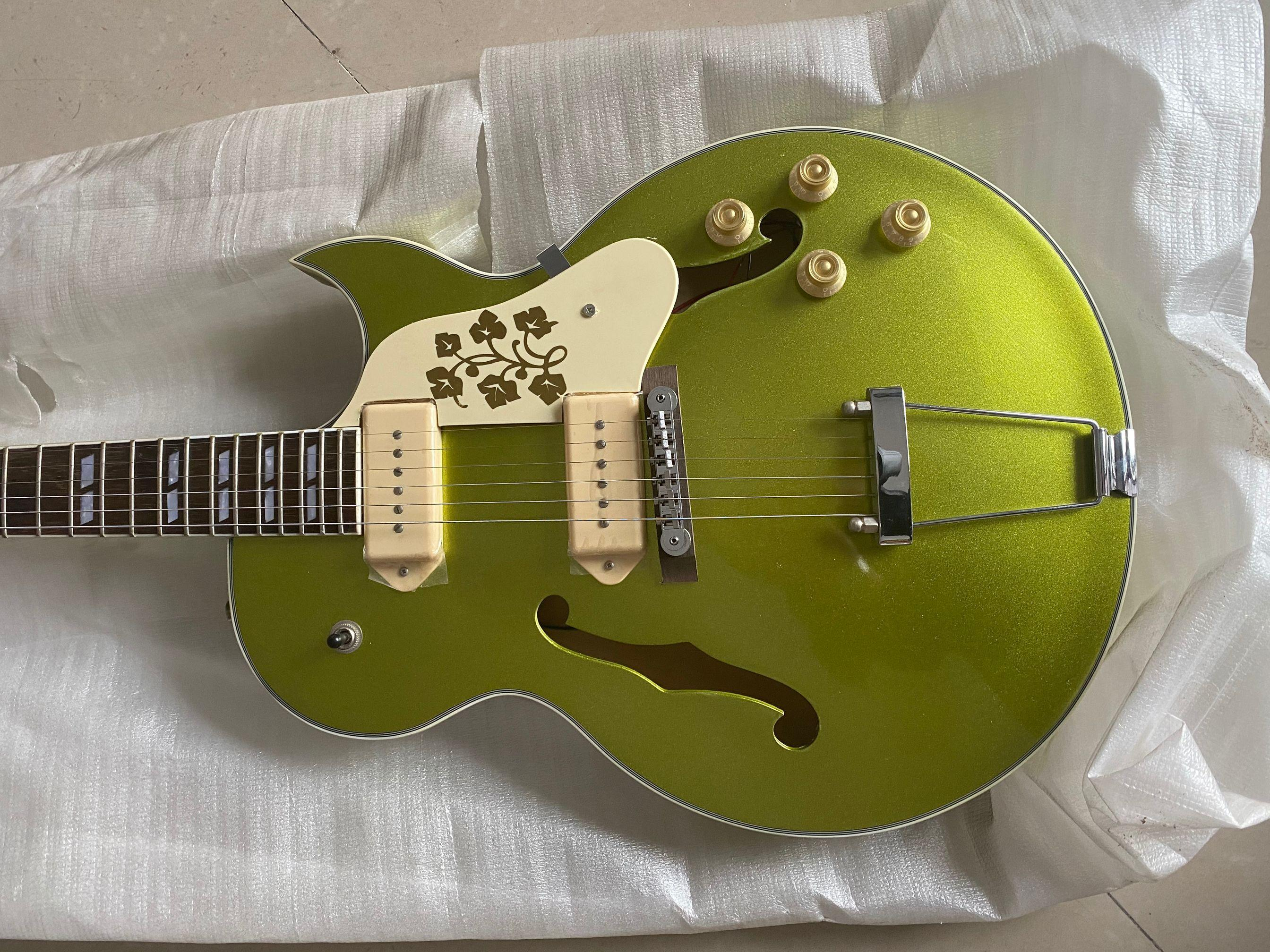 Custom Shop ES 295 Memphis Scotty Moore Metallic Green Gold Hollow Body E-Gitarren-Doppel F Holes, Weiß P90 Pickups, Trapeze Tailpiece