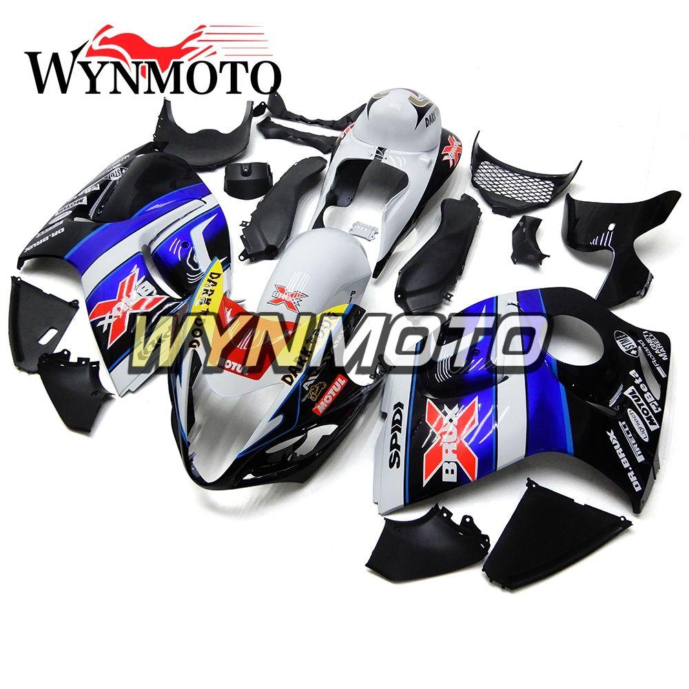 08Hayabusa Motorrad-Verkleidungen für Suzuki GSXR1300 20 2009 2010 2011 2012 2013 2014 2014 2014 Sportbike-Abdeckungsrümpfe des blauen Schwarz-Weiß voll