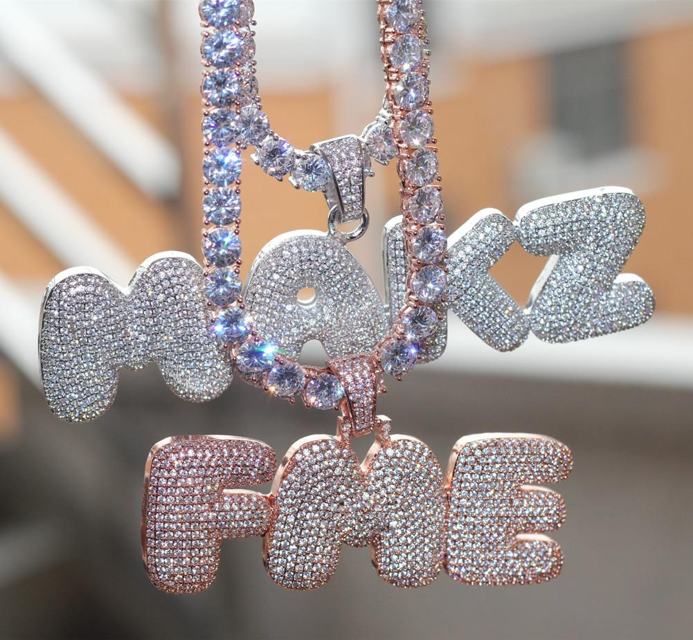 New Iced Out CZ Cubic Zirconia Gold Hip Hop Custom Name Combination Bubble Letter Pendant Chain Necklace Full Diamond Initial Jewelry