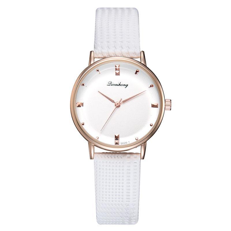 Reloj ocasional de las mujeres del reloj del cuarzo del color del caramelo del dial con correa de cuero de la PU LL @ 17