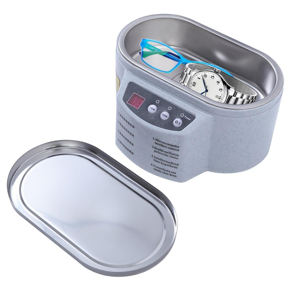 Smart Ultrasonic Cleaner Stainless Steel Ultrasound Wave Washing for Jewelry Glasses Ultrasound Bath Machine A1 Gray