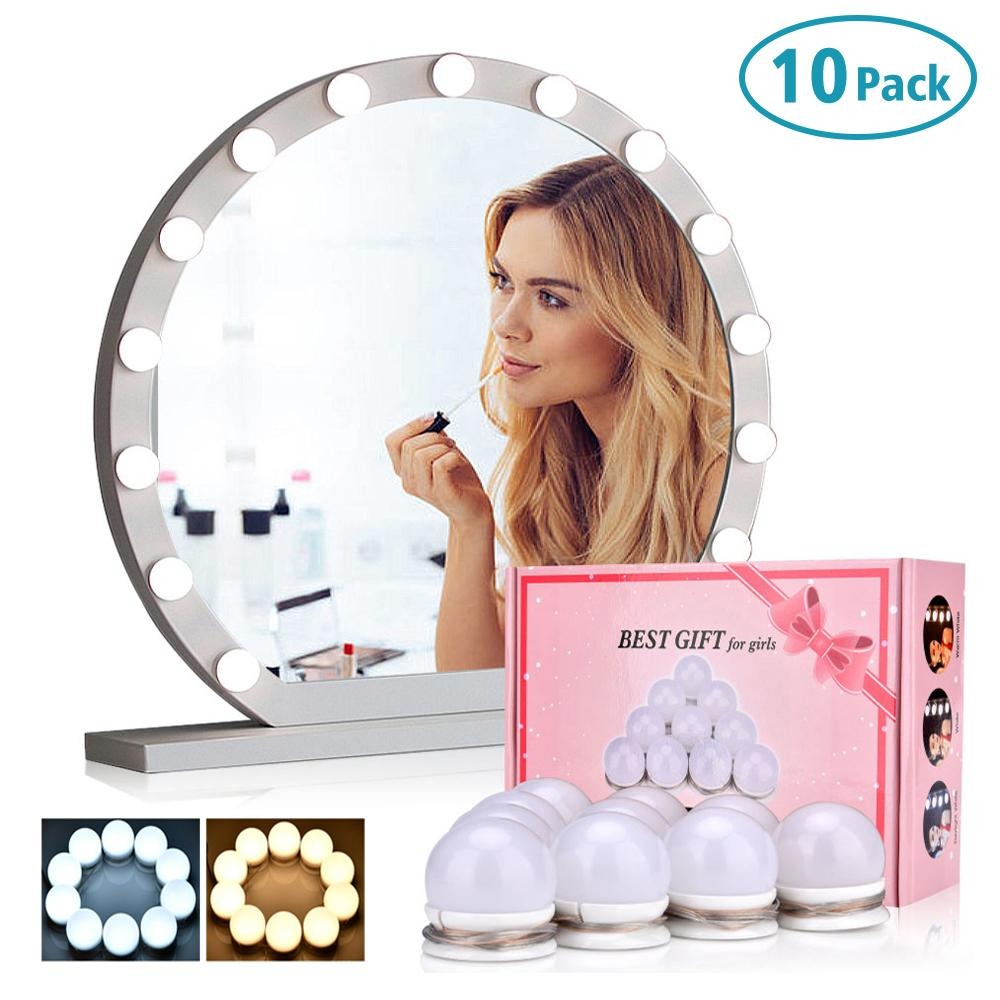 10 LED Light Bulbs Lamp Kit Vanity Makeup Mirror 3 Colors Brightness Adjustable Lighted Bathroom Mirror Make Up Cosmetic Mirrors
