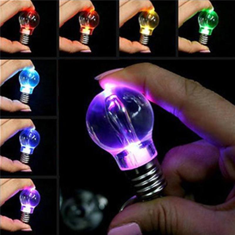designer keychain Hot Unisex Women Men New Popular Clear LED Light Lamp Bulb Change Colors Key Chain Gift