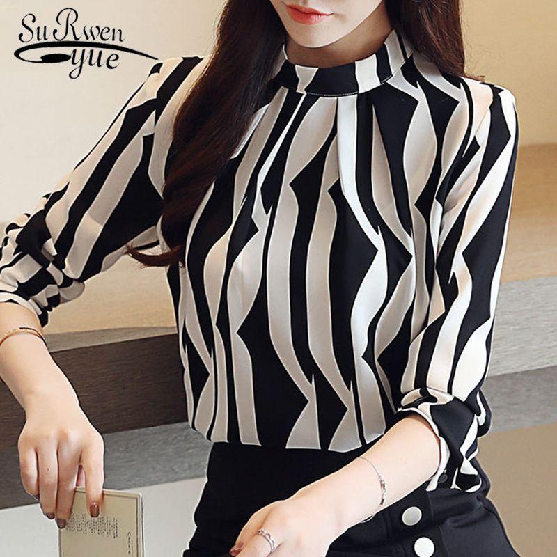 camicetta moda donna 2019 camicia a strisce camicetta di chiffon a maniche lunghe Camicie donna ufficio abbigliamento da lavoro delle donne top e camicette 0941 60 Y200103