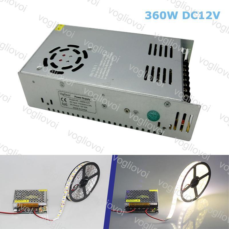 Led Трансформатор 360W DC24V 15A или DC12V 30A алюминиевый серебристый LED Driver адаптер питания для 3528 5050 5730 LED Strip Light DHL