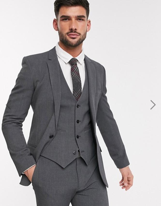 Klasik Tek Düğme Yakışıklı Groomsmen Notch Yaka Damat smokin Erkekler Suits Düğün / Balo Sağdıç Blazer (Ceket + Pantolon + Vest + Tie) W122