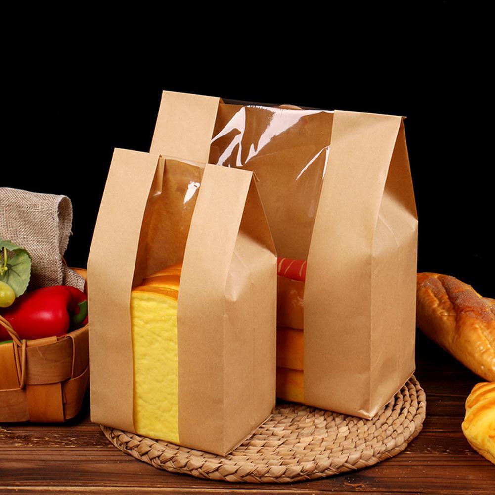 50шт Kraft Paper Хлеб Clear Избегайте масло упаковки Тост Window мешок выпечки вынос пакета торт мешок