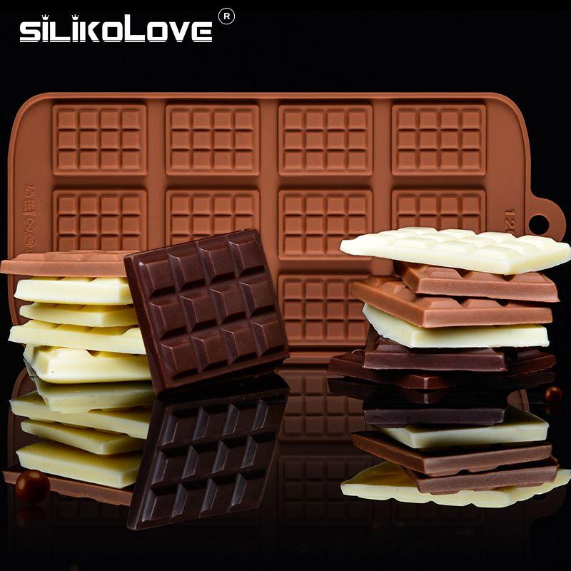 SILIKOLOVE 3D ساحة الشكل سيليكون الشوكولاته قوالب الحلوى أدوات خبز كعكة 12 قالب حتى لا تلتصق، الخبز مطبخ فرن