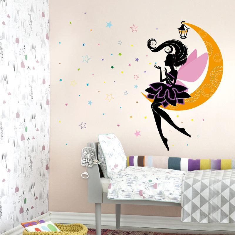 3D Flower Fairy Moon Stars Decorative Wall Sticker For Kids Room Wall Decal Home Decor Window Elf Girl PVC DIY Art Mural Poster