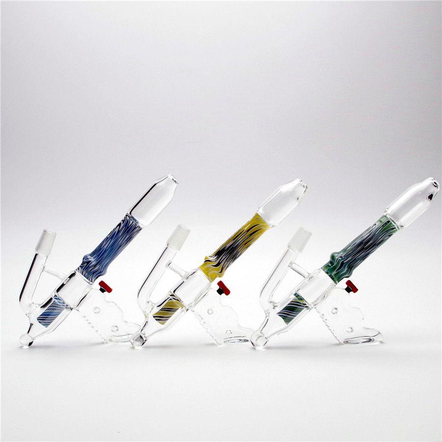 8.2inch hookah escovado listra cor pistola bong de vidro wadpipe dabrig com clear tigela incluída 1 agulha de vidro entrega global