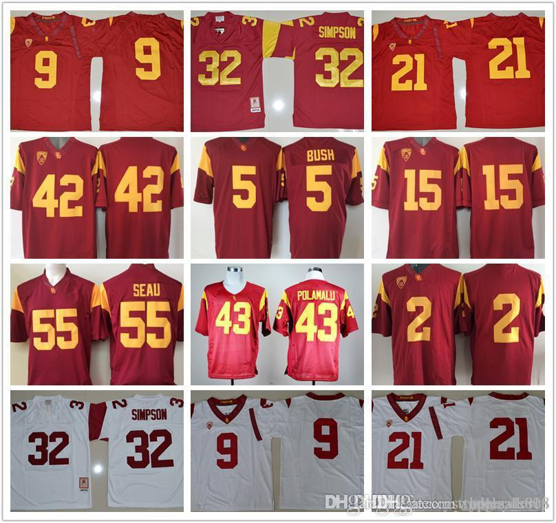 Men USC Trojans #14 Sam Darnold O.J Simpson 32 Robert Woods 2 Adoree Jackson JuJu Smith-Schuster 9 College football jerseys