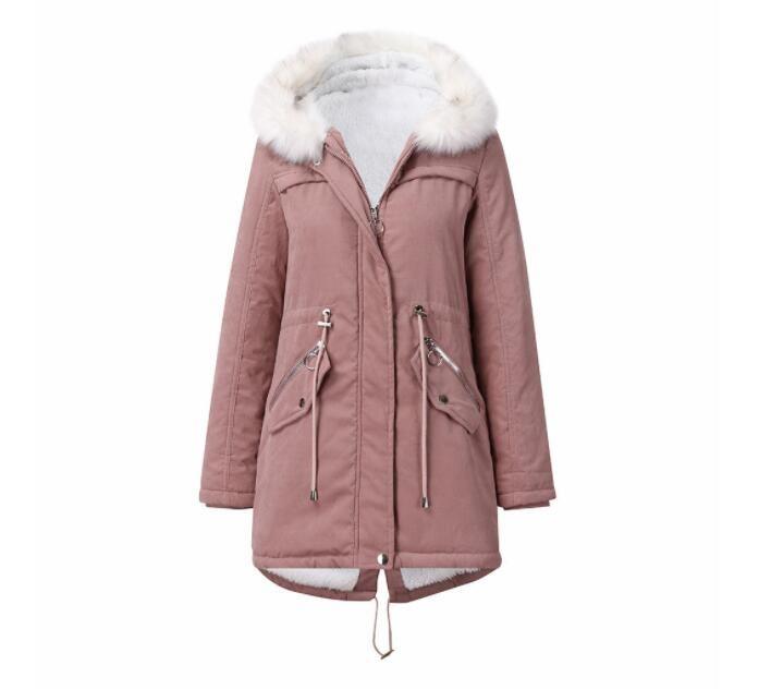 -30 Grad Snow Kleidung Lange Parka Winterjacke Frauen-Pelz Hood Kleidung Weibliche Pelz-Futter dicker Wintermantel Frauen
