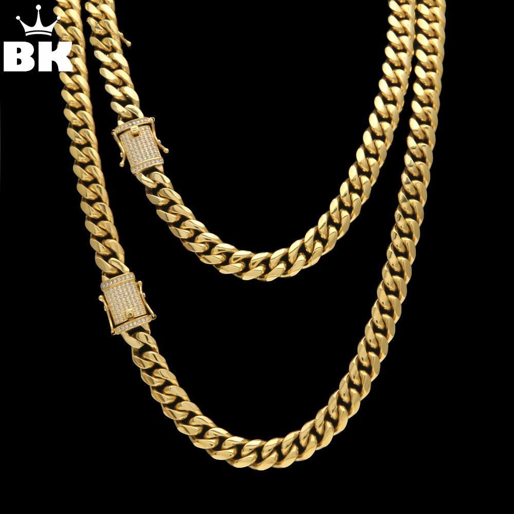 12mm / 14 millimetri in acciaio inossidabile CZ Miami cubana catena di lusso di Hip Hop degli uomini del bordo della collana di collegamento micro pavimenta cubico zircone chiusura 24inch 30inch