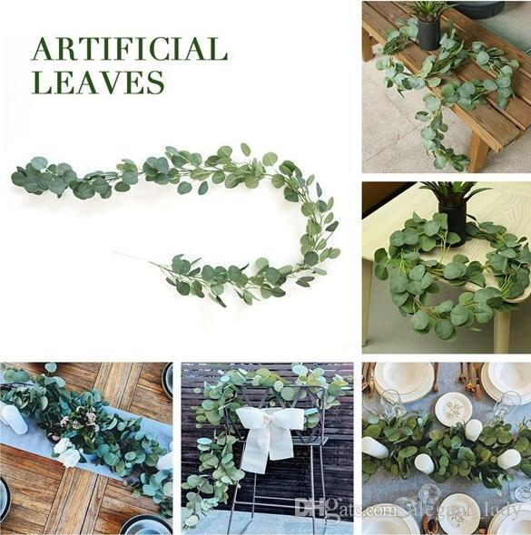 Idee di nozze Centrotavola freschi dollaro d'argento di eucalipto Rametti Bridal Bouquet 2m artificiale falso Eucalyptus Garland seta lungo di eucalipto