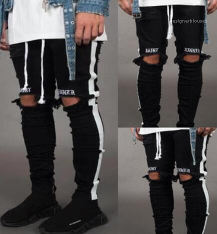 Holes White Stripes Jeans Skateboard Pencil Pants Fashion Mens Jeans Street Style Mens Designer Jean Letter Hip Hop Black