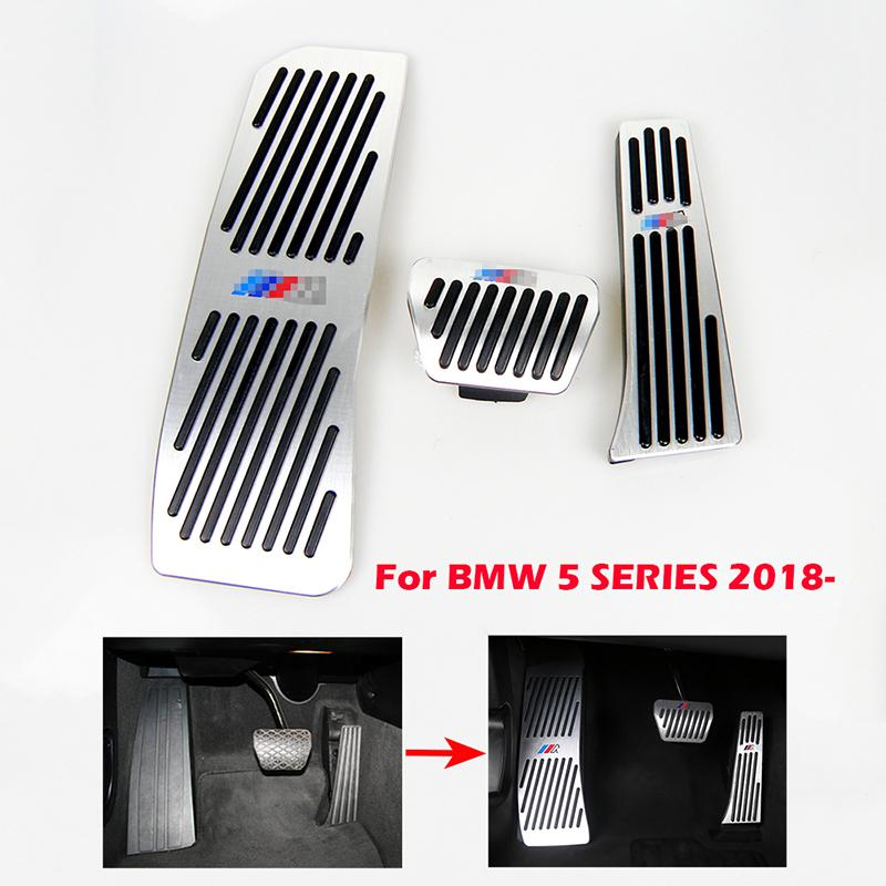 لا حفر غاز الفرامل مسند قدم دواسة لوحة لوحة لسيارات BMW جديد 5 سلسلة سبائك الألومنيوم 2 0 1 8