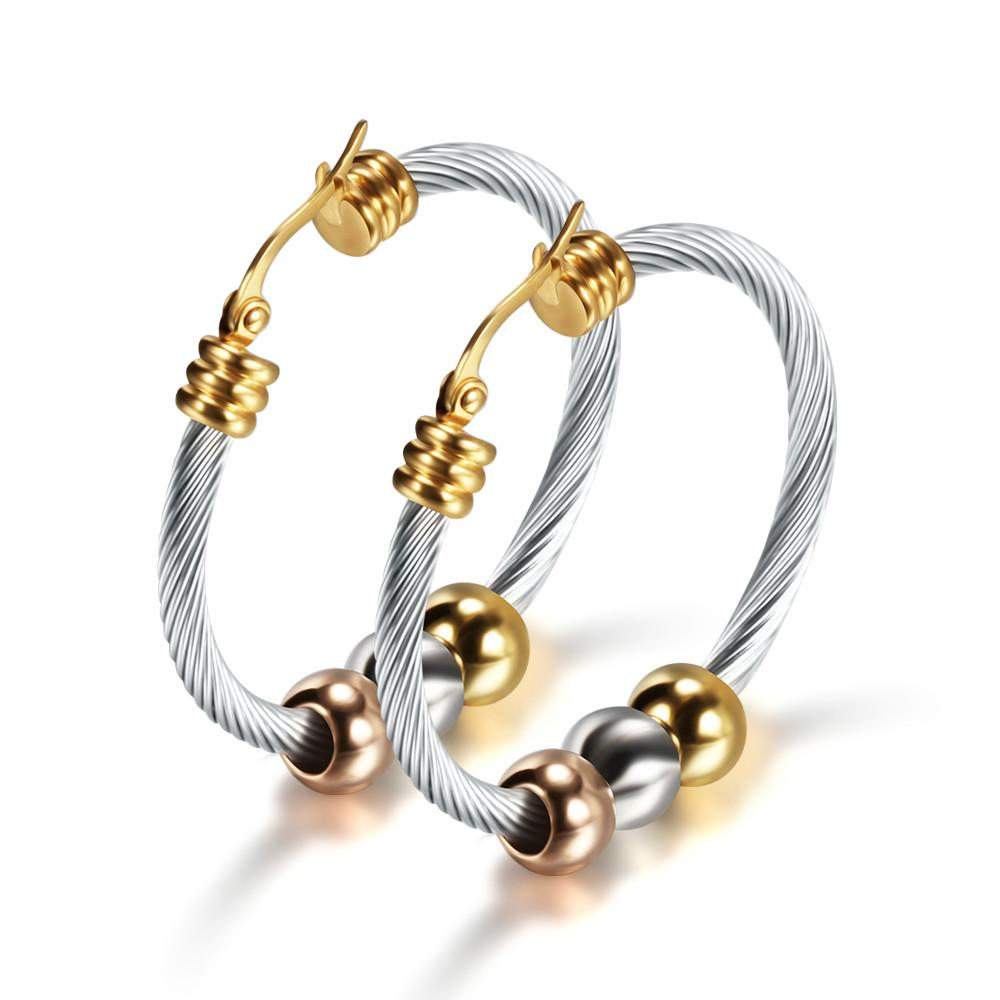 Mode Koreanisch Gold Big-Band-Ohrringe mit drei Korn-runde Kreis-Edelstahl-Ohrringe für Frauen Trendy Hiphop-Felsen