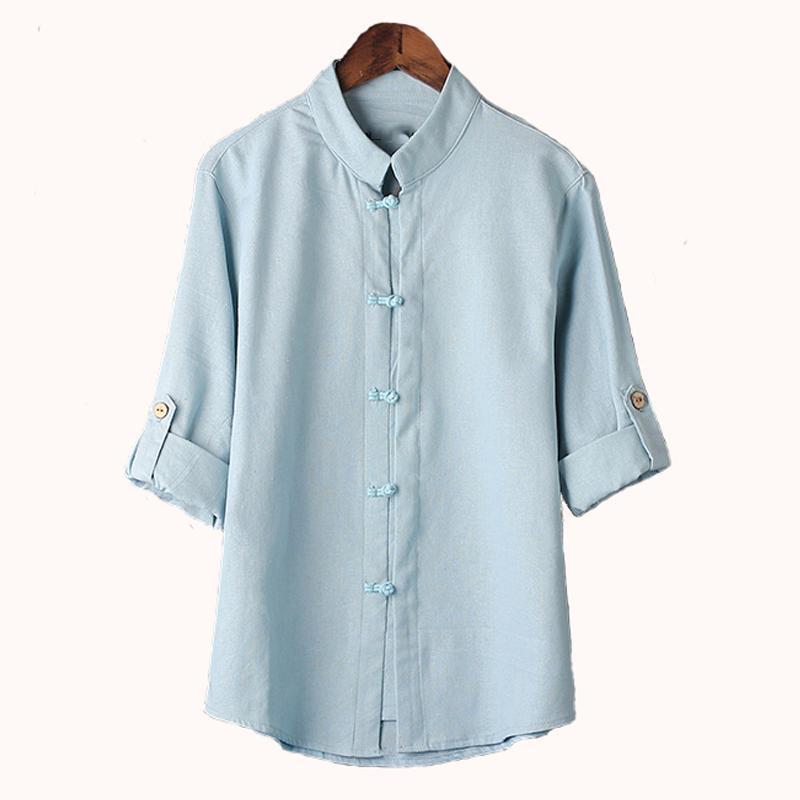 Sólido Hcxy estilo chinês Roupa shirt dos homens Blusa New Big Yards 7 Pontos de algodão de manga camisa M -5xl famosa marca Men Shirts Super
