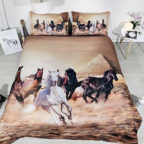 Set di biancheria da letto con stampa di cavalli da corsa a piramide a 3 pezzi con 2 fodere per cuscino Copripiumino copriletto ad acquerello Copripiumino luna