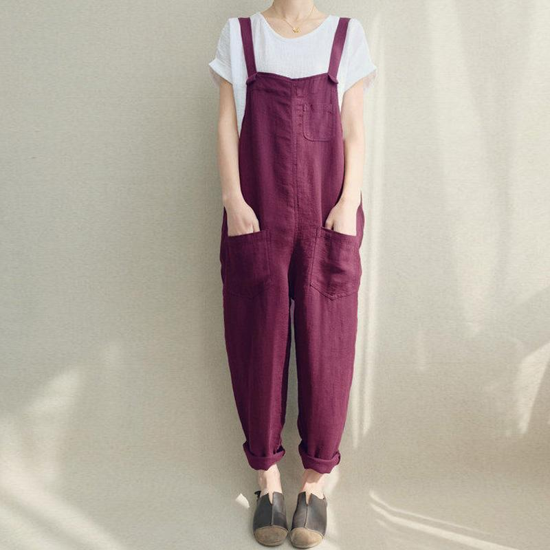 Women Strappy Bib Overalls Pockets Summer Cotton Linen Long Jumpsuits Casual Solid Dungarees Loose Rompers Plus Size