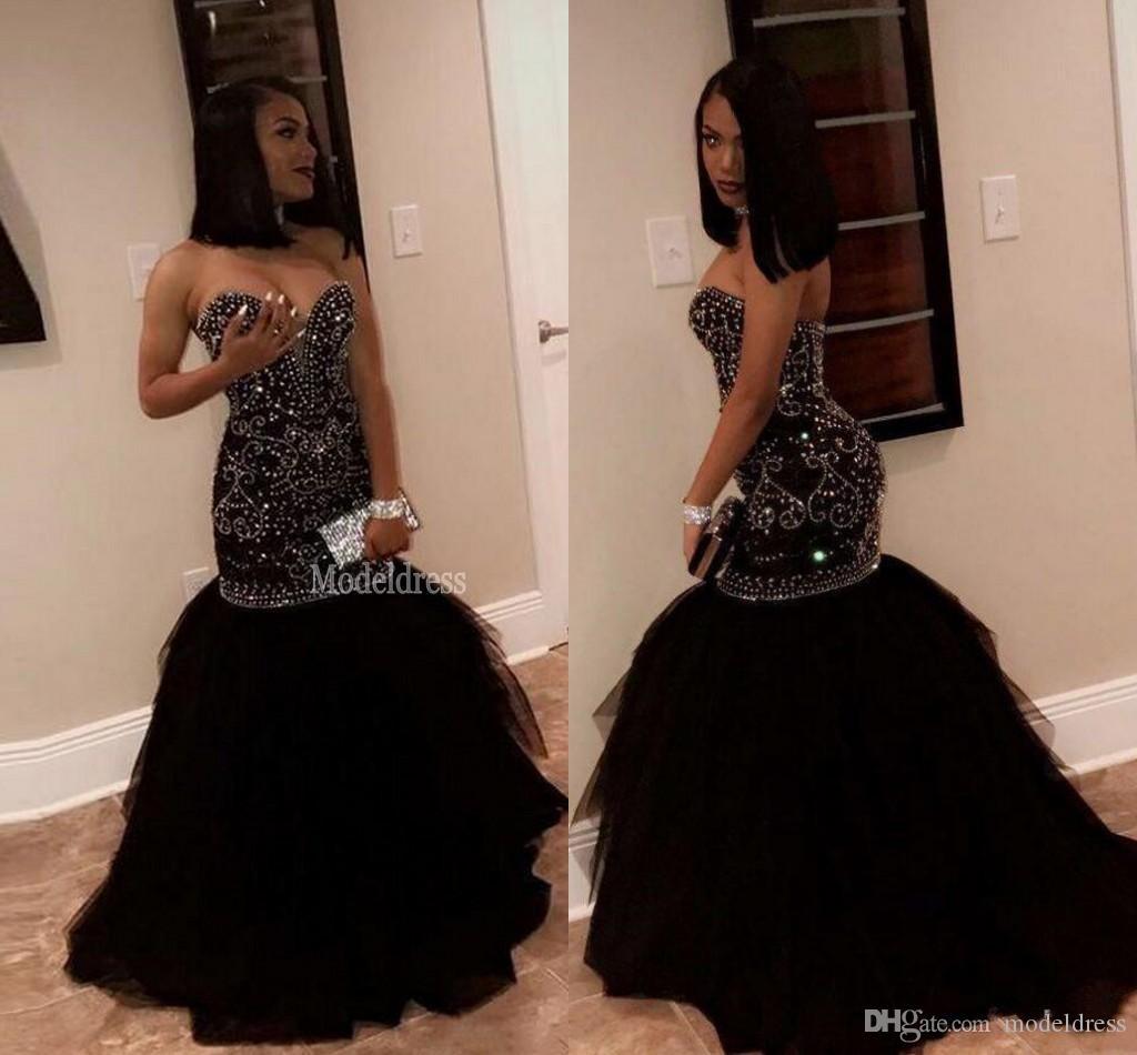 Brillante cristal abalorios sirena vestidos de baile 2019 Sweetheart Lace Up Back trompeta largo africano negro niñas vestidos de fiesta de noche Vestidos