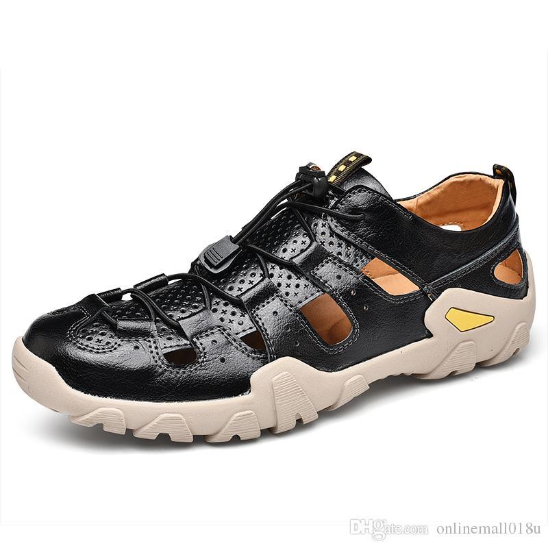 Новые Натуральные Кожаные Сандалии Мужчины Взрослые Закрытый Носок Дышащие Мягкие Удобные Летние Уличная Обувь Римские Пляжные Сандалии Размеры 38-46