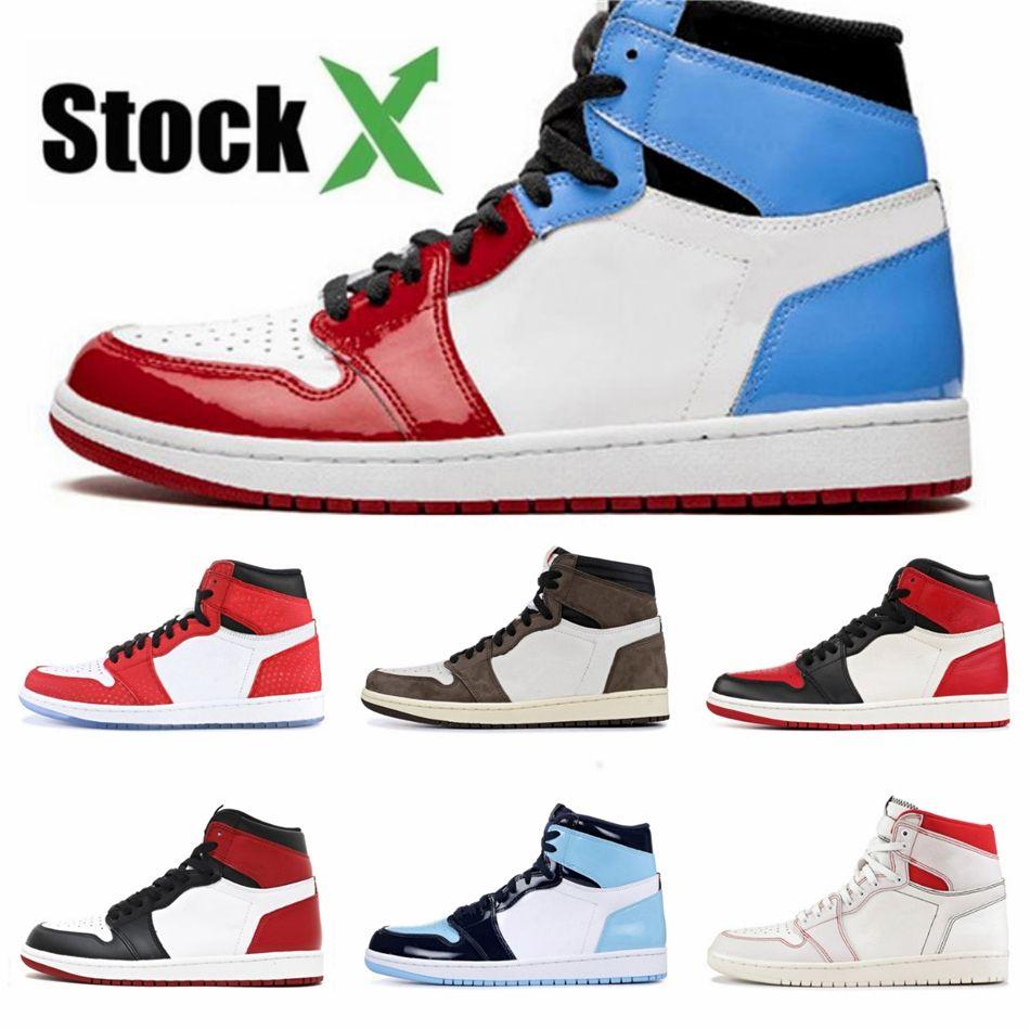 Boîte Pin Vert Noir 1S Chaussures de basket Jumpman 1 Bloodline Hommes Designer Chaussures sans Peur Obsidian Black Gold Unc Patent Toe Top Trai # 733