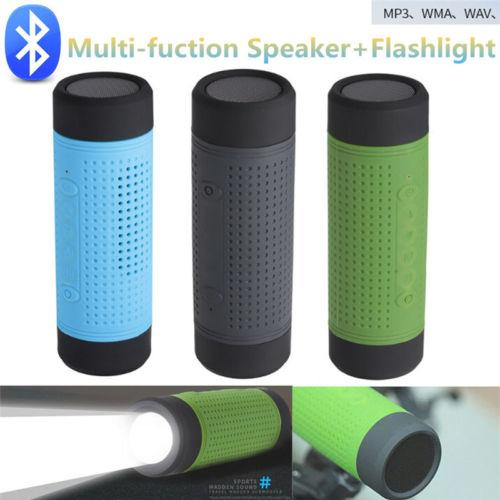 Portable Waterproof 2 in 1 Wireless Bluetooth Speaker with LED Bike Light Flashlight Mini Bass Speaker with Power Bank For Camping Riding