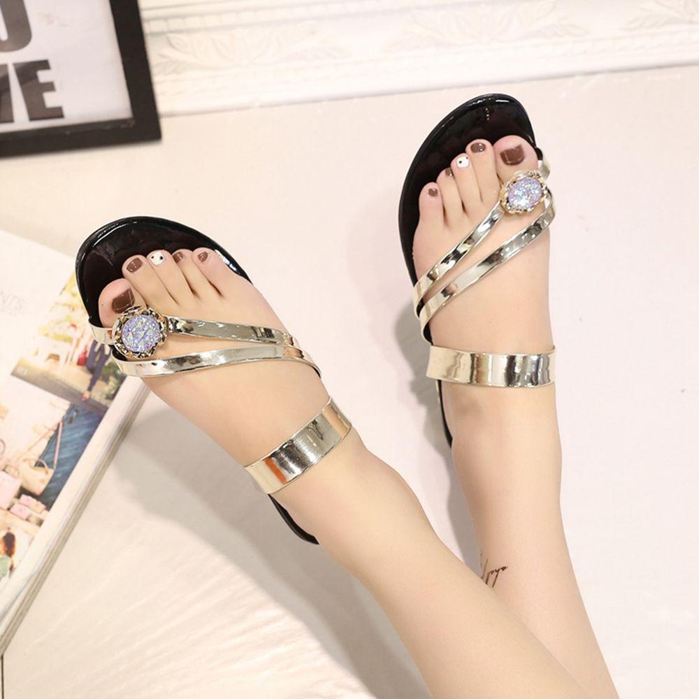 Women Sandals Shoes leather Bling Rhinestone Fashion Flats Sandal split Toe Back slip on summer beach gladiator sandals