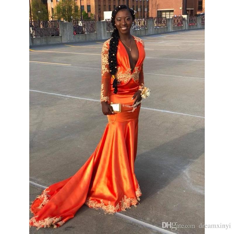 Orange Profonde V Cou Sirène Robes De Bal 2019 Nouveau À Manches Longues En Dentelle Applique Balayage Strain Formelle Robe De Soirée Robes De Fête