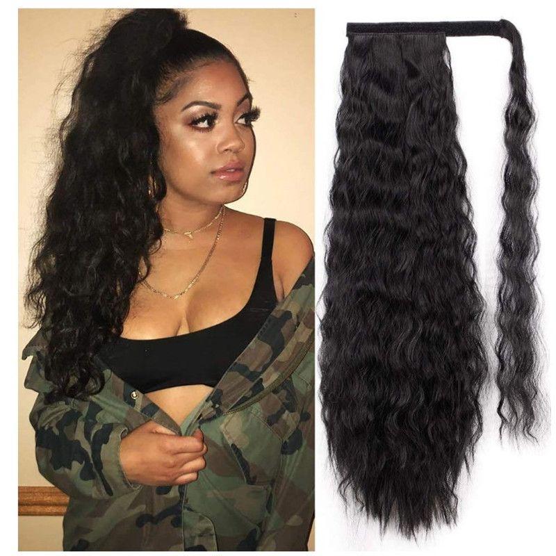 영광스러운 22inch 긴 옥수수 웨이브 포니 테일 마법의 페이스트 내열 물결 모양의 합성 랩 포니 테일 검은 머리카락 여성을위한
