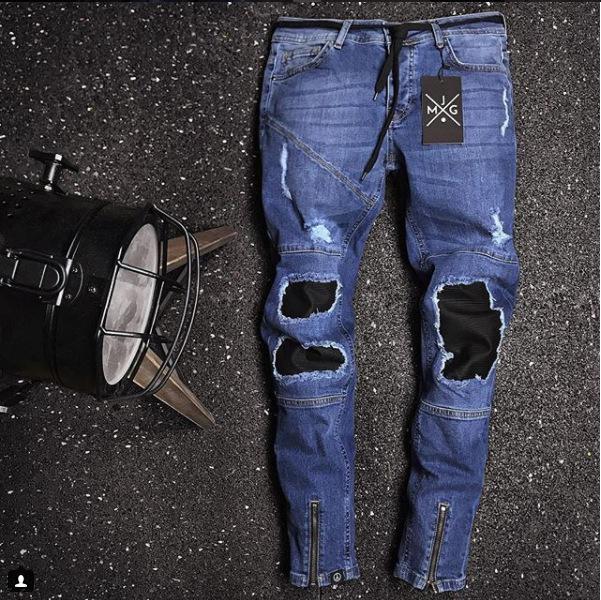 Erkek Moda Kot Blucin Yamalı Tasarımcı Erkek Rapçi Kaykay Biker Kalem Jeans
