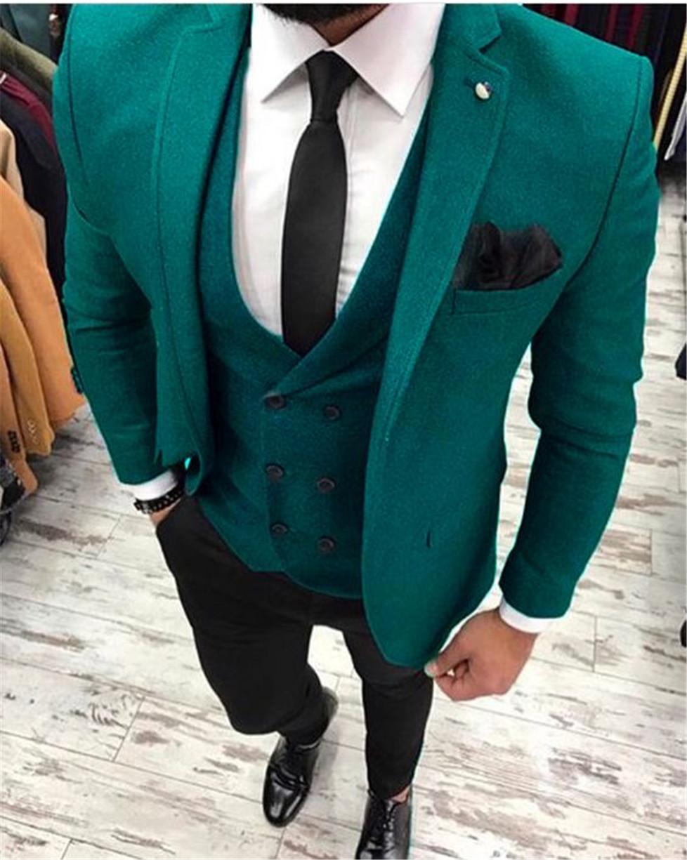 Custom Made Groomsmen Notch Lapel smokings marié One Button Hommes Costumes de mariage / Prom / Dîner Best Man Blazer (veste + pantalon + cravate + Gilet) K233