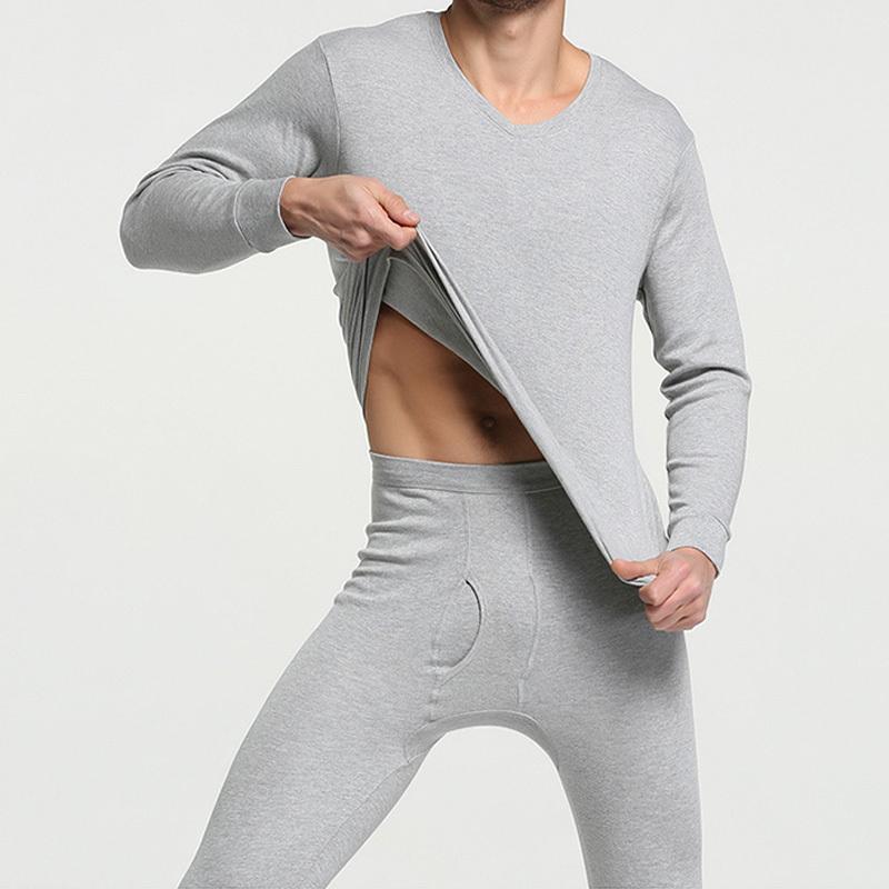 Мужчины термобелье мужчины кальсоны 100%хлопок осень зима рубашка + брюки 2 шт комплект теплый тепловой мужчины нижнее белье топы T200415